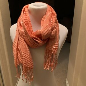 New York & Company Accessories - Coral & silver shimmer scarf